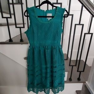 NWOT Green Lace Overlay Midi Dress